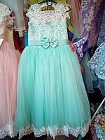 Мятное  подростковое платье для девочки 7-9 лет
