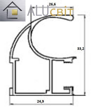 Вертикальный C - профиль Лайт дуб глянец купе ручка открытый, фото 2