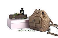 Рюкзак кожаный прошитый на затяжке Taup