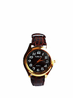 Часы YaWeiSi мужские кварцевые на коричневом ремешке золотистый, черный