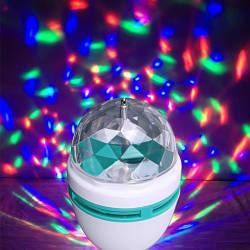 Диско лампа вращающаяся в патрон с переходником. Disco laser lamp 399