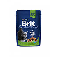 Консервы 100 г для стерилизованных котов и кошек Брит Премиум / with Chicken Slices for Sterilised pouch Brit Premium