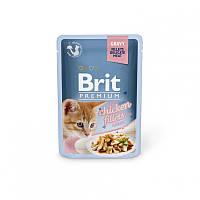Консервы 85 г филе курицы в соусе для котят Брит Премиум / Chicken fillets for Kitten pouch Brit Premium