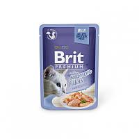 Консервы 85 г филе лосося в желе для кошек Брит Премиум / Salmon fillets pouch Brit Premium