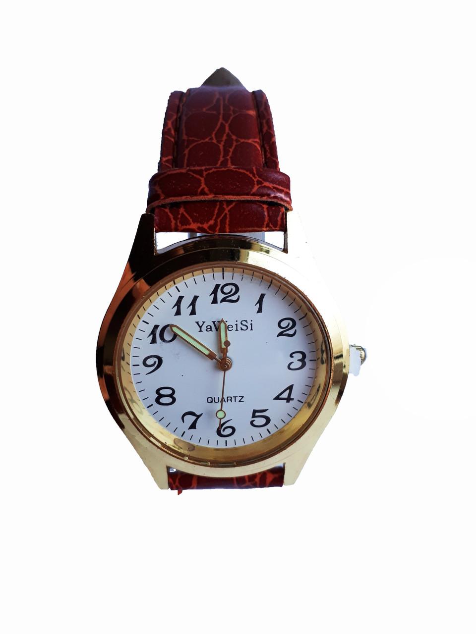 Часы YaWeiSi мужские кварцевые на рыжем ремешке золотистый, белый