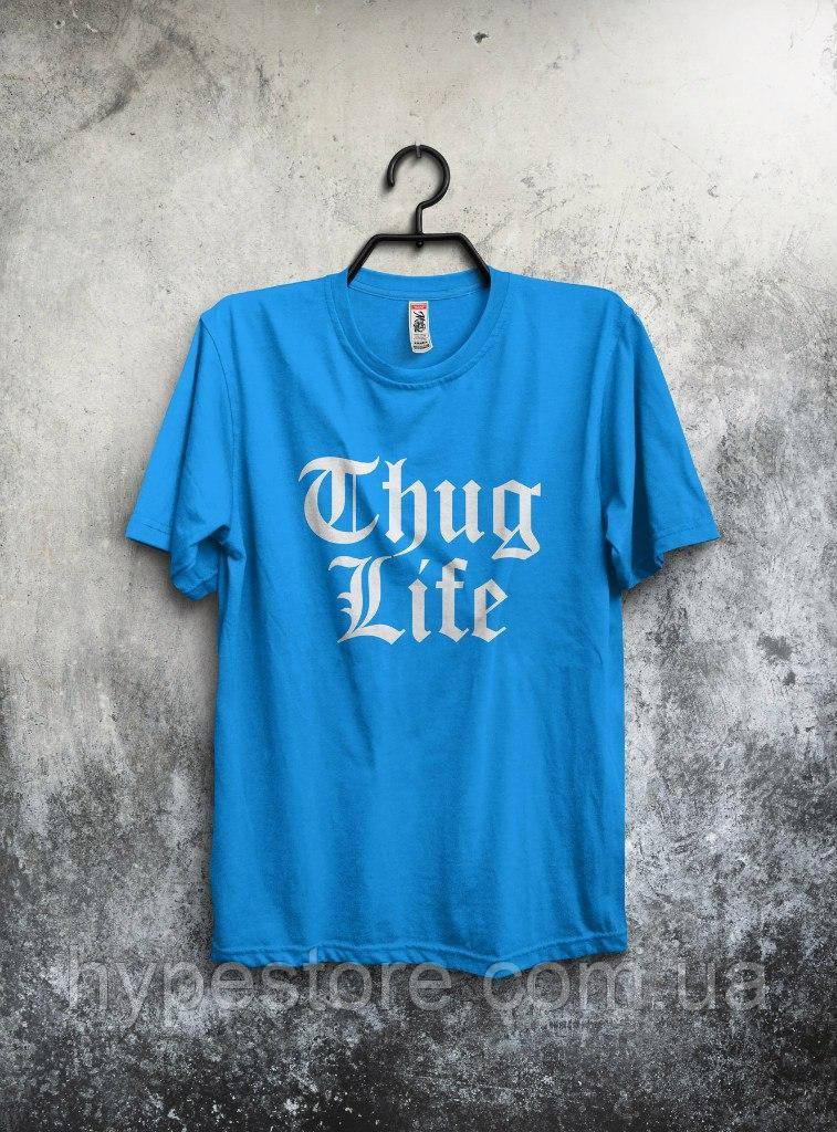 Футболка мужская Thug Life (голубой), Реплика