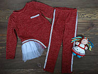 """Брючный костюм """"Селена"""" для девочек красный р.116-140"""