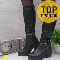Зимние женские сапоги, черного цвета / сапоги женские на устойчивом каблуке, с мехом, стильные 2018