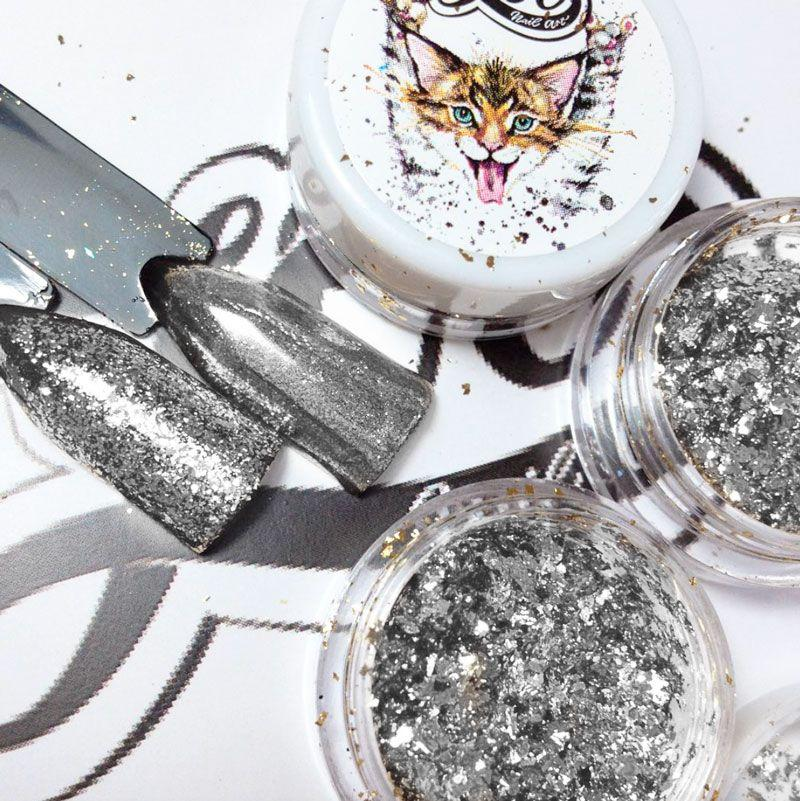 Пластівці юкі срібло голограма