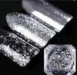 Пластівці юкі срібло голограма, фото 4
