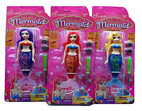 """Кукла """"Русалочка"""" RMT-BL-9999-1 (3 вида,на батарейках,плавает в воде,свет,на планшете-13*4*2,5см)"""