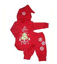 Теплый костюм новогодний для новорожденных 7-033 красный, р.р.18-26