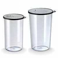 Набор мерных емкостей-стаканов 400 мл, 600 мл, Bamix, черные крышки, SAN пластик