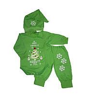 Костюм теплый новогодний детский 0-12 мес. 7-033 зеленый, р.р.18-26