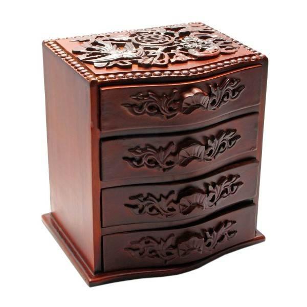 Скринька розкішна різьблена з дерева для коштовностей і біжутерії
