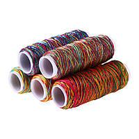 Нитка для шитья по коже разноцветная 0,8 мм 150 D 5 штук