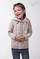 Теплая детская кофта с капюшоном для девочки, лен
