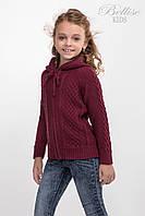 Теплая детская кофта с капюшоном для девочки, марсала