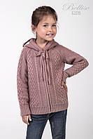 Теплая детская кофта с капюшоном для девочки, сухая роза