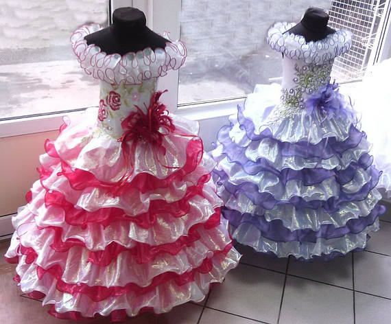 Детское нарядное бальное выпускное платье из органзы для девочки принцессы, фото 2