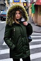 Женская зимняя куртка (парка) на меху зеленая