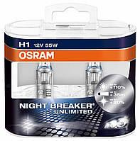 Лампа галогенная 12V H1 P14,5s 55W night breaker unlimited +110% ( 2ШТ, )