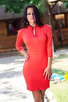 Платье красное осеннее № 575