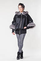 Пальто с мехом Мишель чернобурка, фото 1