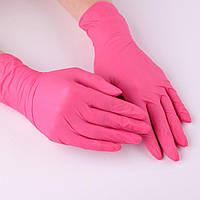 Перчатки нитриловые, розовые (размер М)