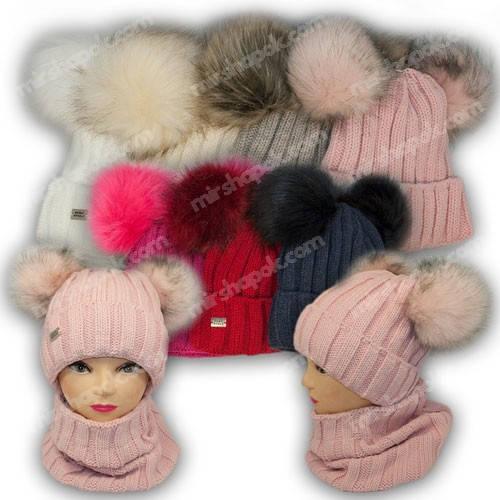 Комплект шапка с двумя помпонами и шарф (тунель) для девочки, р. 52-54, 1309, Agbo (Польша), подкладка флис