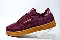 Классические женские кроссовки Reebok Club C 85 Leather, Бордовые