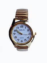 Часы мужские кварцевые YaWeiSi  на  браслете резинка под золото белый