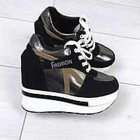 Кроссовки деми на танкетке цвет: Бронза + Черный,материал : обувной текстиль+вставки экозамши