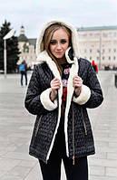 Женская зимняя парка(куртка) на натуральной овчине черная