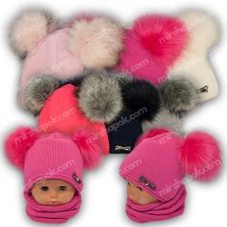 Детский комплект - шапка и шарф (труба) для девочки, р. 48-50, Grans (Польша), утеплитель Softi Term, A848ST