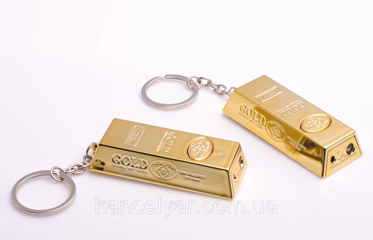 """Брелок для ключів """"Злиток золота"""", 4 в 1: брелок, лазер, ліхтарик, підставка для телефону"""