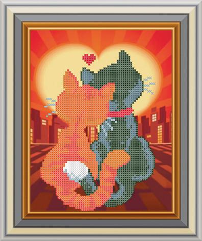 Схема для вишивки бісером Закохані коти Арт. СД-149