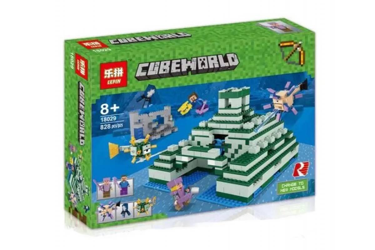 """Конструктор Lepin 18029 """"Подводный храм"""" (реплика Lego Майнкрафт, Minecraft 21136), 828 дет"""