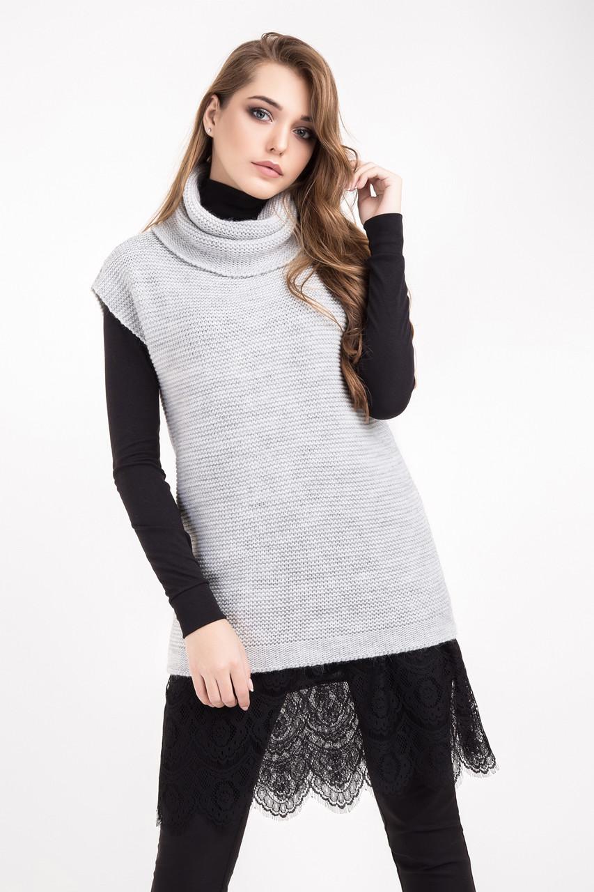 Теплый вязаный жилет крупной вязки, светло-серого цвета