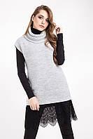 Теплый вязаный жилет крупной вязки, светло-серого цвета, фото 1