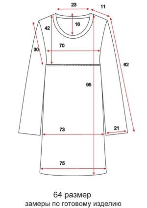 Отрезное платье с вырезом - 64 размер - чертеж