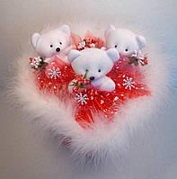 """""""Умка поздравляет!"""" Букет из мягких игрушек в форме сердечка. В наличи без снежинок., фото 1"""