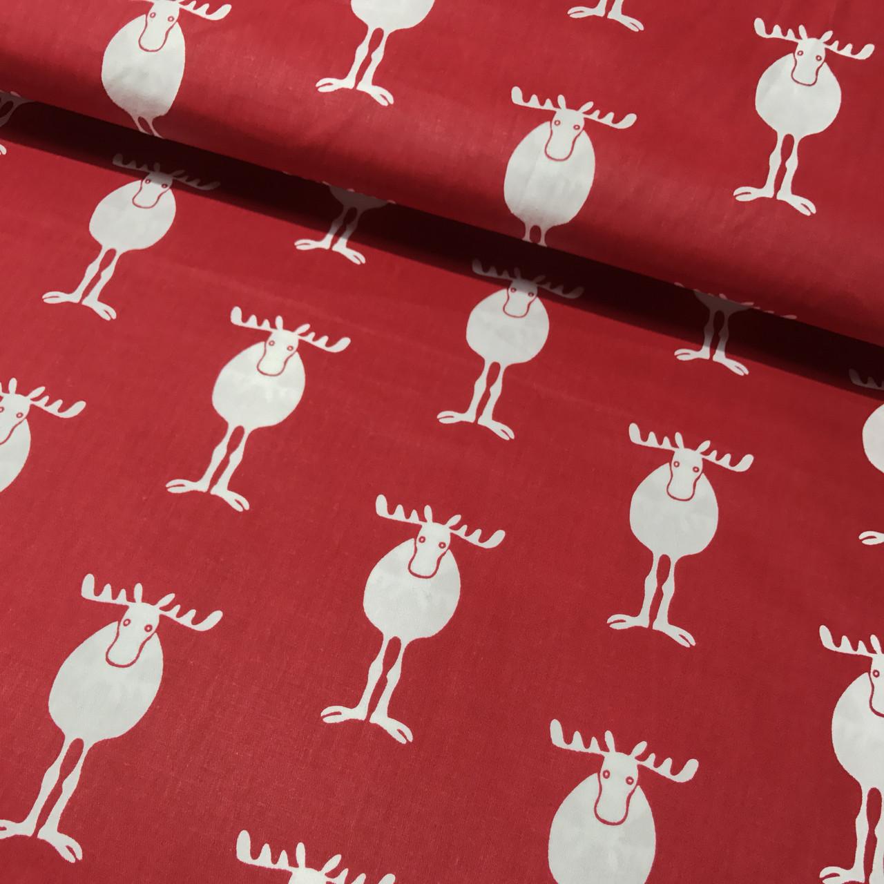 Хлопковая ткань олени белые на красном (Корея) №256