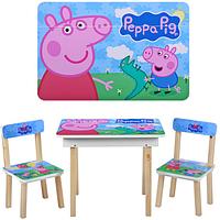 """Столик деревянный со стульчиками """"Пеппа"""" OPT-503-13 (c ящиком,открывается столешница, 60-40см,)"""