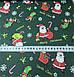 Хлопковая ткань Санта Клаус с подарками на зеленом (Корея) №255, фото 3