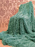 Покрывало пушистое изумрудного цвета п-во Турция на подарок  160*200  полуторное