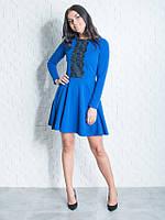 Стильное платье с узким верхом и юбкой в складки цвета электрик размер:44,46,48,50