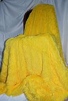 Пушистое желтое покрывало с длинным ворсом   Турция в подарочной упаковке  160*200  полуторное