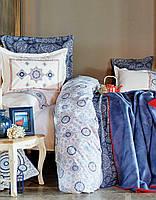 Набор постельного белья Karaca Home с покрывалом + плед Coastal Mavi 2018-1 голубой евро размера