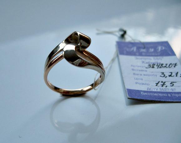 Золотое Кольцо из красного и белого ЗОЛОТА 585 пробы 3.21 грамма 17.5 размер a62ea69a716